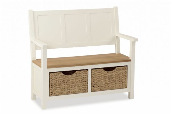 Country Monks Bench with Baskets